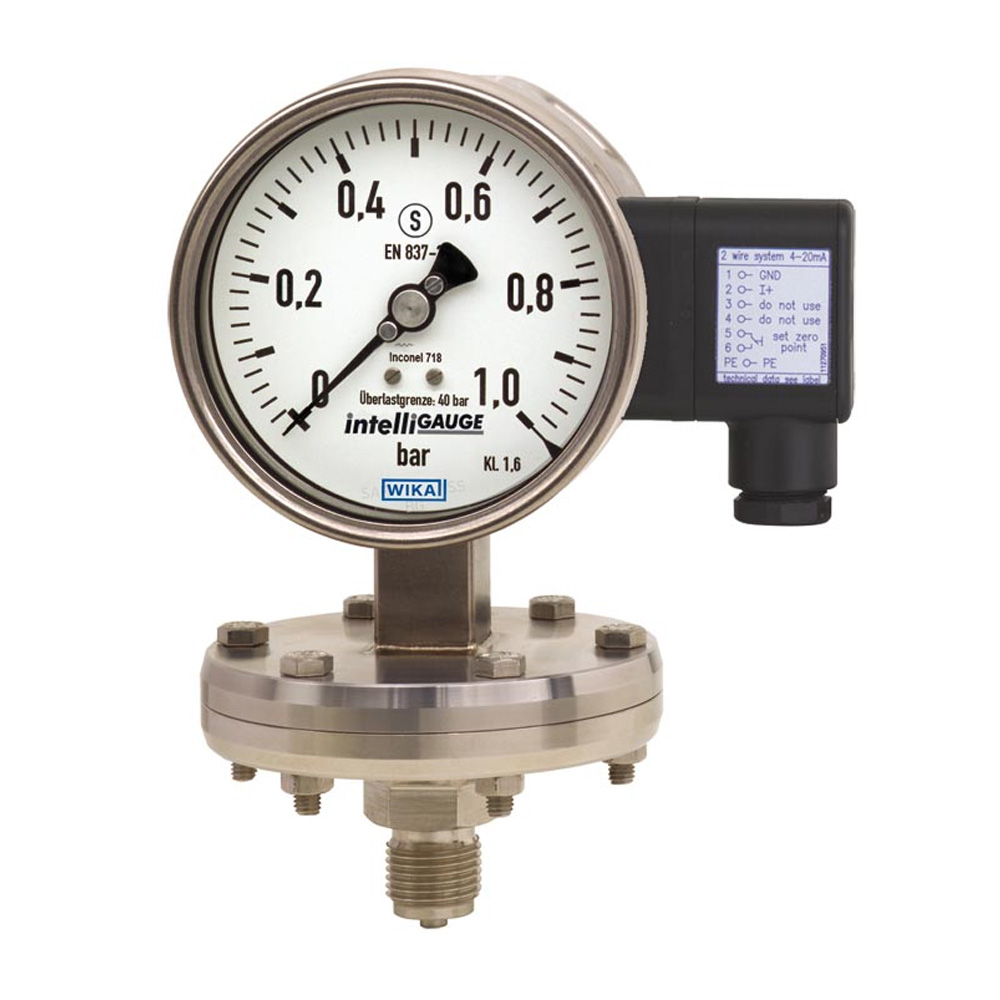 WikaDiaphragm pressure gauge with electrical output signal